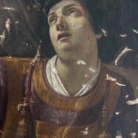 Le prime immagini del restauro della tela di S. Stefano