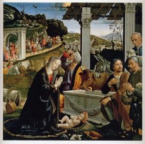Domenico Ghirlandaio, Natività e adorazione dei pastori, 1485; dipinto su tavola; cm 167 x 167. Firenze, Basilica di Santa Trinita, cappella Sassetti.